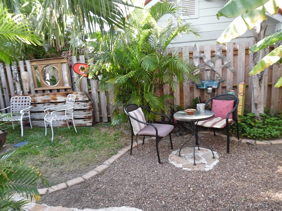 Eclectic and private side yard