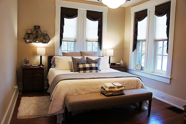 Suite #1: This one-of-a-kind suite provides the perfect escape. Over looking the river, this suite will leave you feeling fully relaxed and restored. Guests enjoy a king bed, flat screen tv with sitting area, and a luxurious private bathroom.