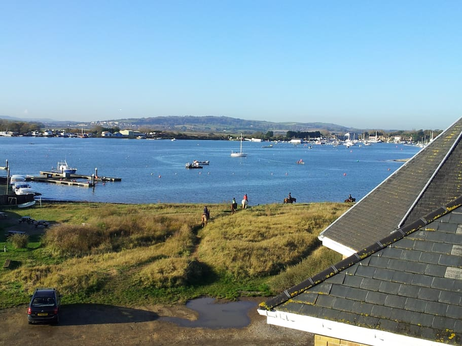 Harbour view from the top of the house with sandy beach just beyond the horses