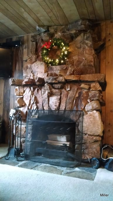 Almost 100 year old natural rock fireplace