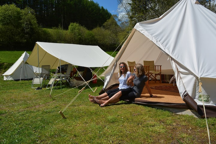 Luxury Bell Tent camping on a Welsh Hill Farm