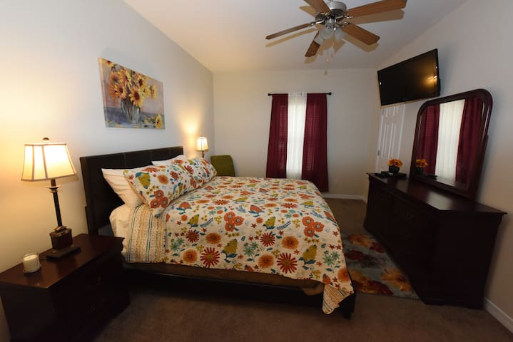 Master Bedroom with U Verse TV and Internet
