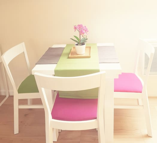 Nice table for 1-4 people with chairs.