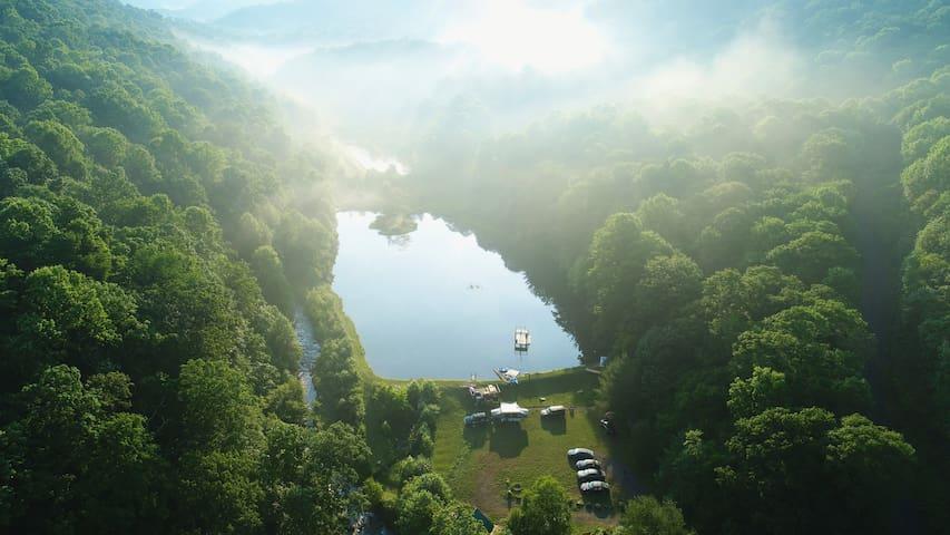 Camp Bigfun: Tiny Waterfront Cabin (A- Frame)