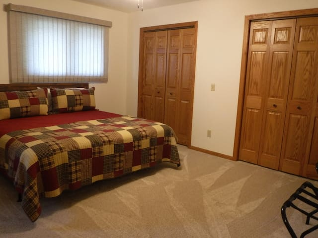 Spacious Master bedroom upstairs with a King bed