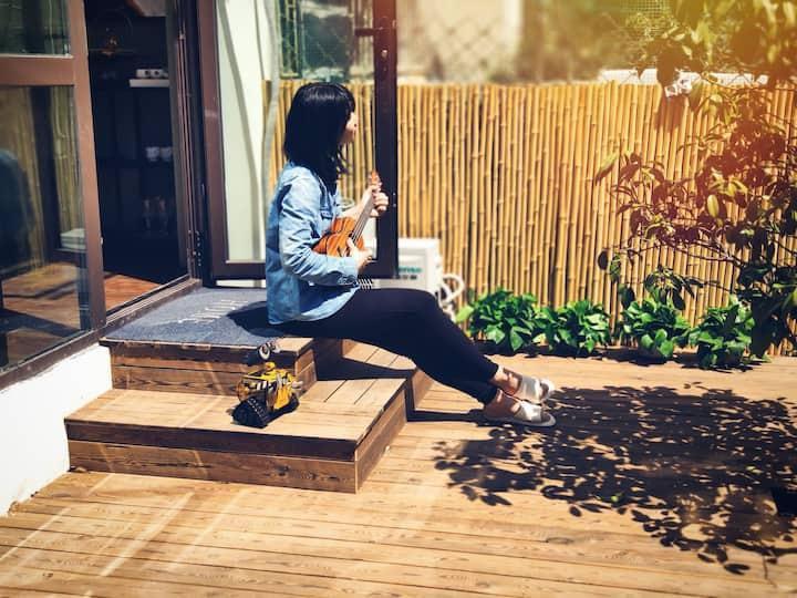 近五四广场的阳光独立院子 一颗樱桃树下的青岛生活-山吹隐宿(暖气已开,健康码入住,一客一消毒)