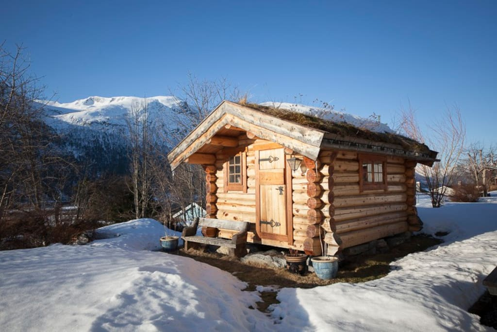 Typical Norwegian cabin with two single beds