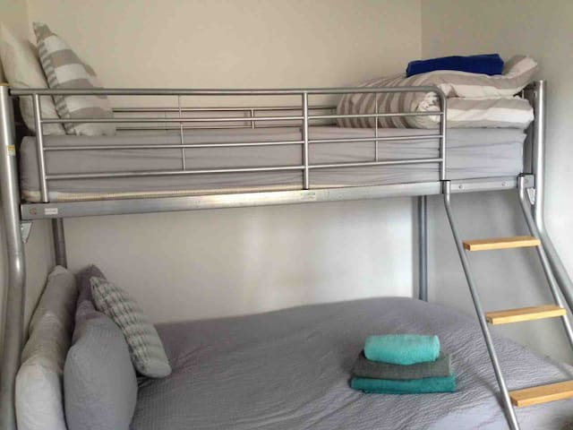 Second bedroom with double bunk bed. Bottom bunk is a double, top bunk is a single