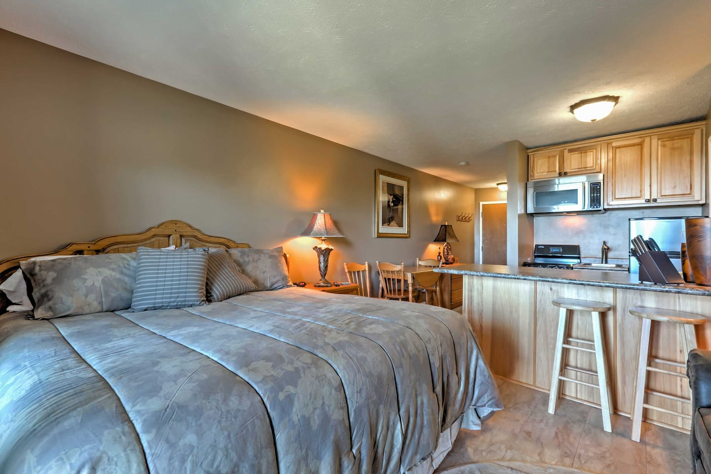 Inside, the modern studio for 2 has everything you need for a comfortable stay.