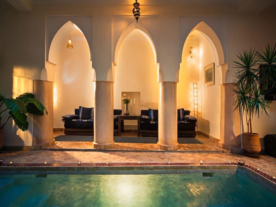 Salon overlooking Courtyard pool