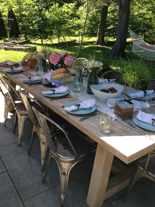 Farm table with seating for 10