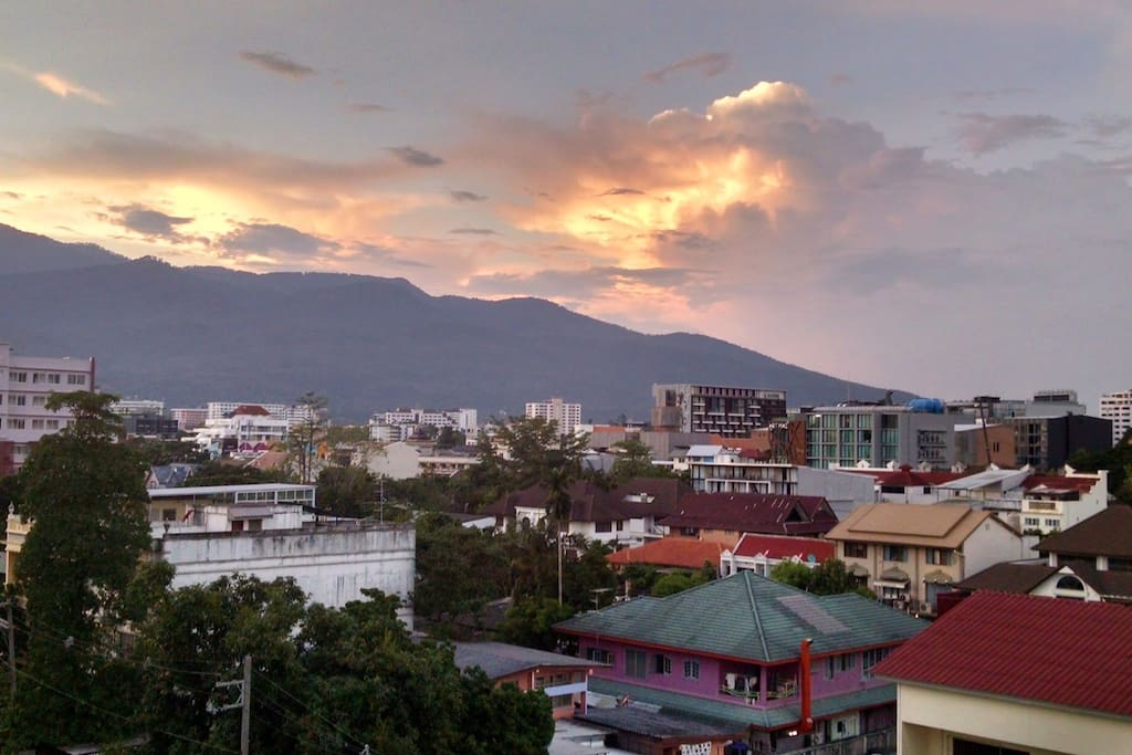 Gorgeous Scenery of Doi Suthep mountain and buildings surrounded