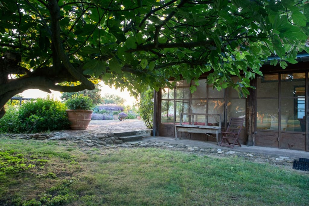 The backyard of the hayloft is just for our guests' use.