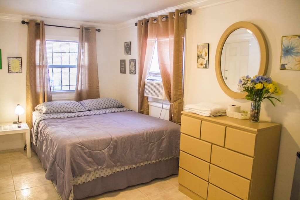 spacious  cozy room with wall A/C