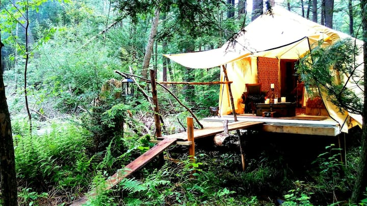 Glamping luxurious tent cabin+grillChillFishFire