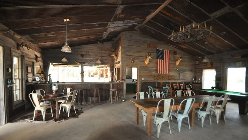 The barn has lots of seating for dining