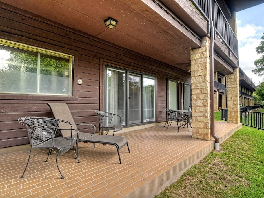 Spend some time on the covered patio overlooking the Comal River!
