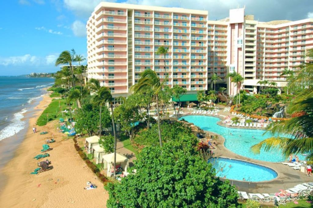 Great view of the resort, beach and pool!