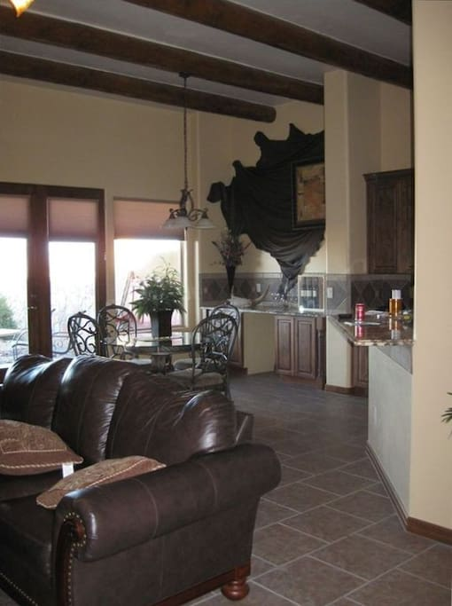 Spacious southwestern living room/dining room.