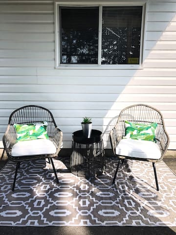 Enjoy a morning coffee or book on your own patio set looking out on McIntosh Run.