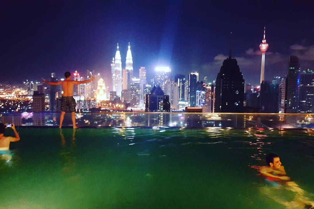 KLCC panorama view at night from sky pool