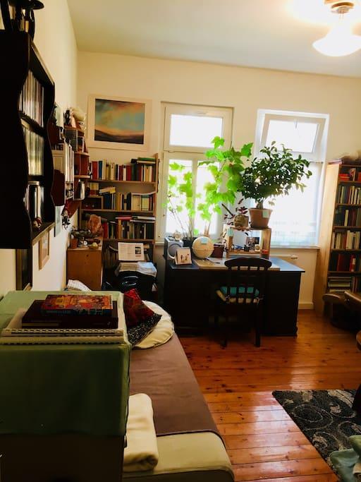 Arbeits- & Wohnzimmer - dein Reich mit zwei Sofas und dem Arbeitstisch