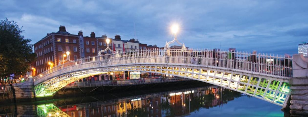 The ha'penny Bridge over the River Liffey - 15 minute walk