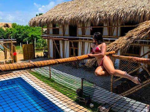 Ecohabitación doble con piscina y zona social (B)