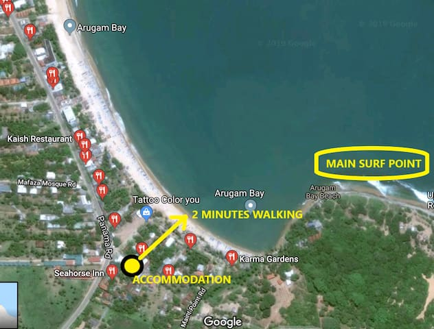 It's 2 minutes walking to baby surf point and 5 minutes walking to main surf point for experienced surfers. Shops and cafes around, yet quite place, a bit further from road.