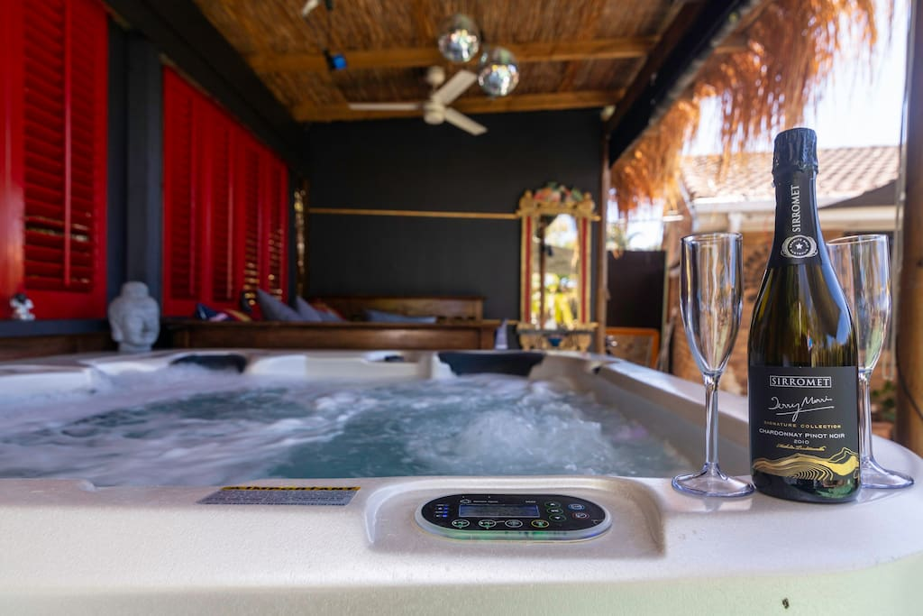 What a great way to relax in the spa over looking the pool area