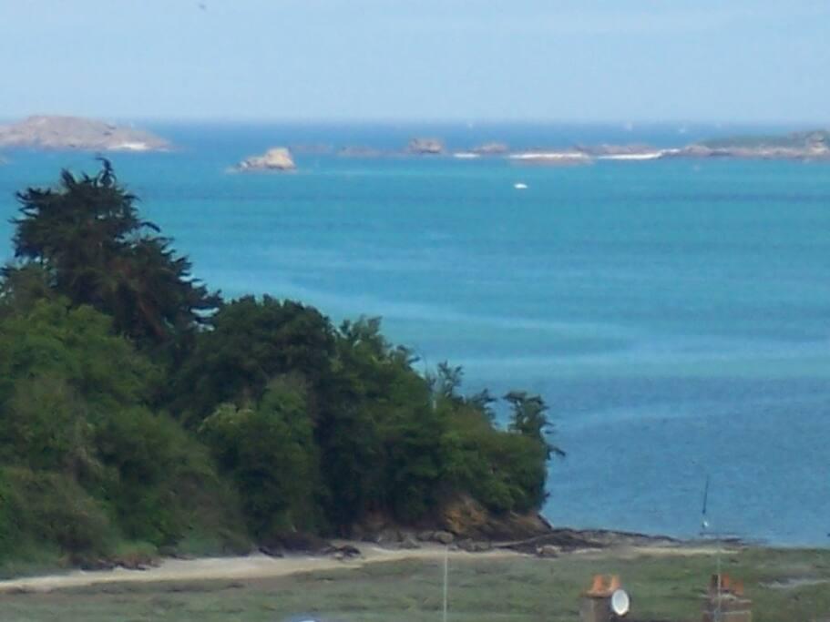 vue de la villa à marée haute