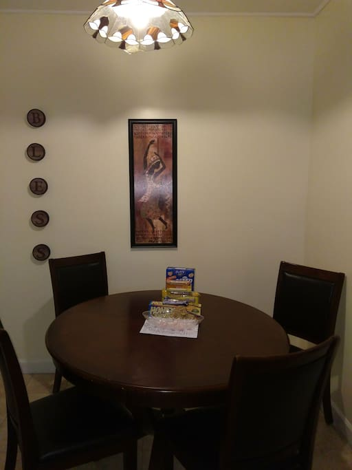 Dining area with a few snacks for you