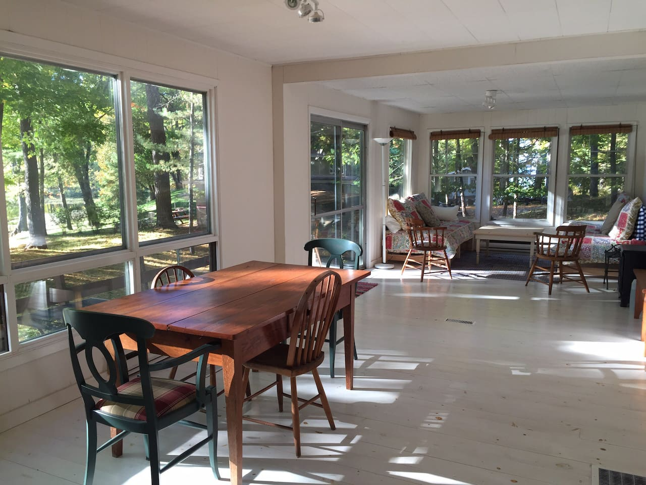 Large, bright, open living dining room & kitchen