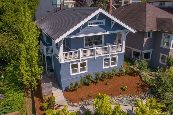 Bright Queen Anne Charmer with Sunset Views