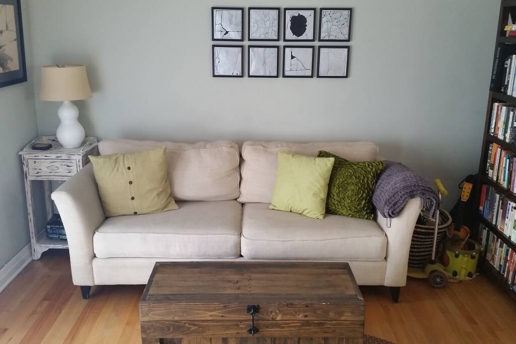Comfy couch in living room - we bought a sectional since this photo