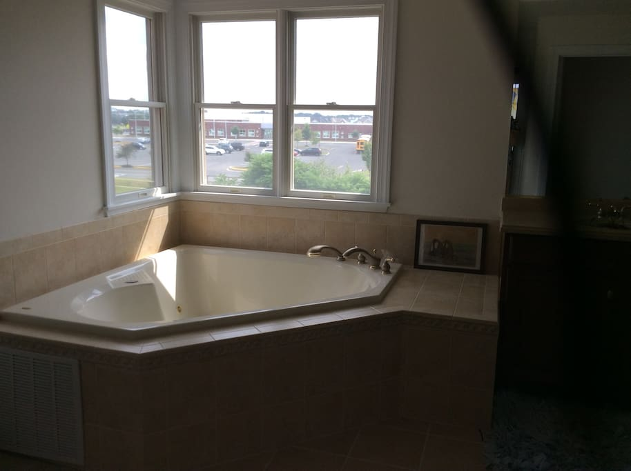 Jacuzzi and shower inside the Master bath.