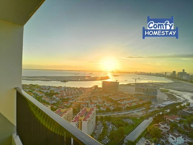 Lv39 Sunrise Seaview Condo Balcony,1km to Gurney,5