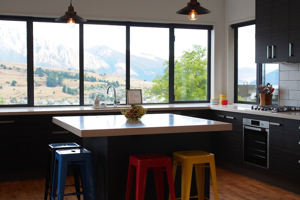 Modern kitchen with a view.
