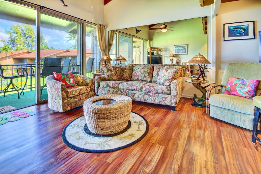 Living room, can you spot the whale end table!