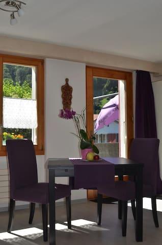 Heller Wohnraum mit Ausgang zur Terrasse