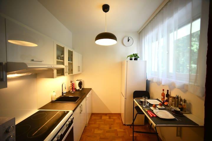 Küche (6 qm), voll ausgestattet mit Kaffeemaschine, Induktionskochfeldern, Backofen, Mikrowellenherd, Geschirrspüler, Kühl-/Gefrierkombination, Wasserkocher und Geschirr und vielen Lebensmitteln im Tiefkühlfach oder in den gegenüberliegenden Kästen.
