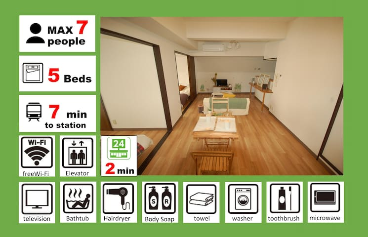 A2009/10min on foot to Namba/family/full rent/501