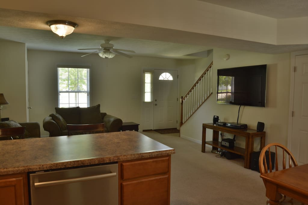 "Downstairs: Living Room with 60"" LCD (Includes Klipsch surround sound and a speaker to play music from your phone)"