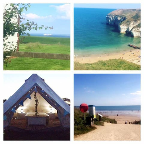 4m Glamping bell tent with stunning sea views