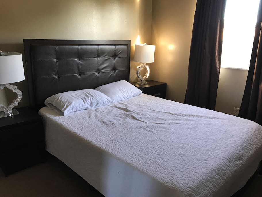 Queen bed with comforter & comfortable pillows. We've tried it out ourselves to make sure our guest are comfortable.