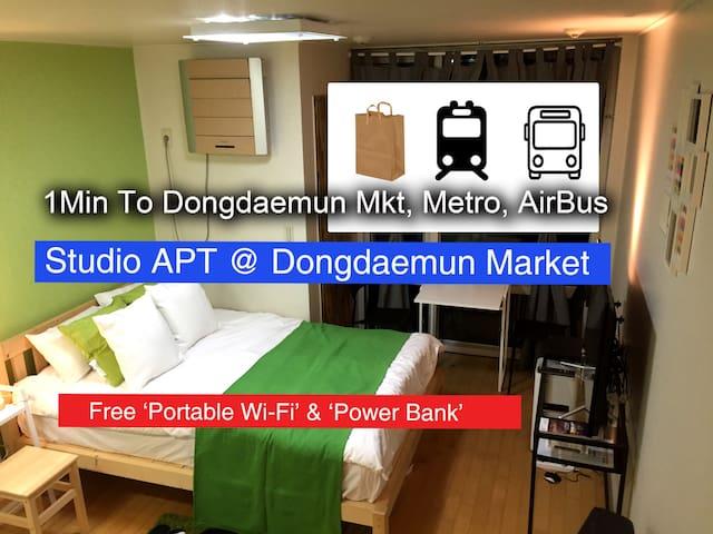 1Min. Dongdaemun Market & Subway & Airbus [Studio] - Jung-gu - Daire