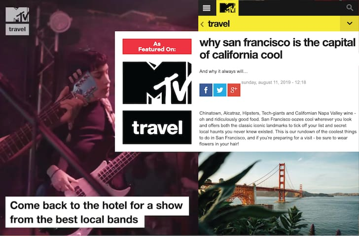 Music City Hotel was featured on an MTV Travel video as well as a Travel Guide to San Francisco!