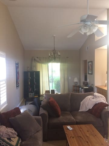 Great room with area for yoga and lounging around.
