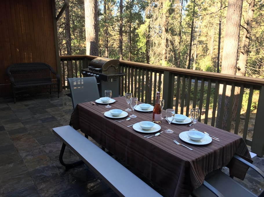 Enjoy a romantic dinner on the back deck.