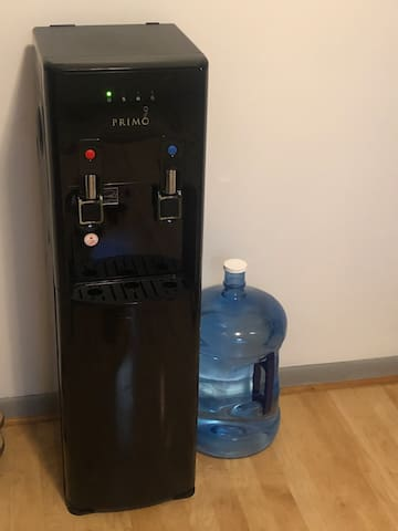 Free cold water dispenser to use as you would like! Refill your water bottle as you please!
